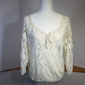 American Eagle Outfitters sheer white lacy top